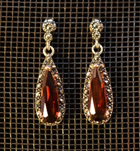 Sterling Silver Pierced Earrings Marcasite and Cubic Zirconia Red (Reproduction)
