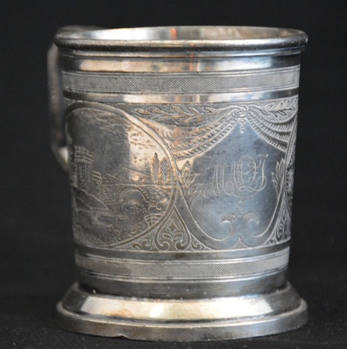 Silver Plated Etched Mug