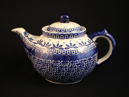 "Polish Pottery Afternoon Teapot in ""Blue On White"""