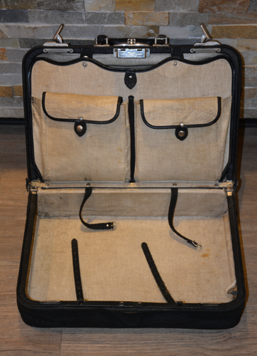 Vintage Black Leather Suitcase