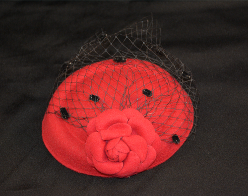 Red Felt Fascinator with Felt Hat and Rose with Black Net.