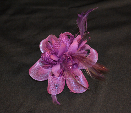 Fascinator Lace Bows and Feathers in Purple, White or Red