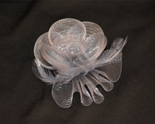 Fascinator Small Mesh Flower with Feathers, Grey or Red