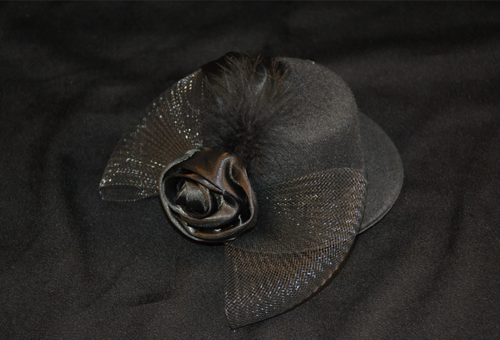 Black Fascinator with Mini Felt Hat, Mesh Bow, Satin Rose and Feather.