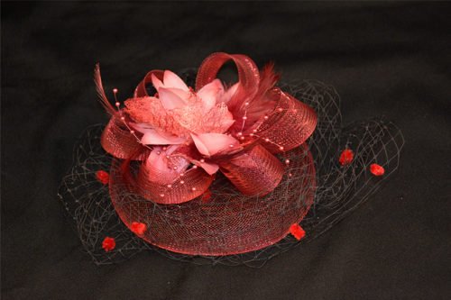 Fascinator Dark Red with Flower, Mesh, Netting & Feathers