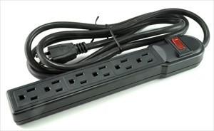 6 outlet surge strip black