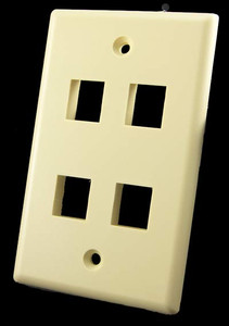 4 Port Ivory Wall Plate