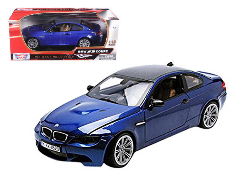 BMW M3 E92 Coupe Blue 1/18 Diecast Car Model By Motorma