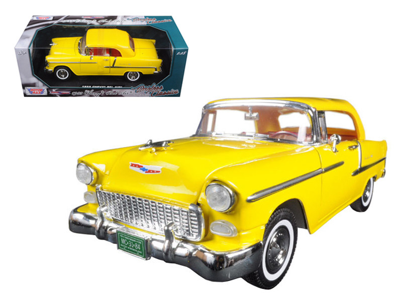 "1955 Chevrolet Bel Air Convertible Soft Top Yellow ""Timeless Classics"" 1/18 Diecast Model Car Motormax 73184"
