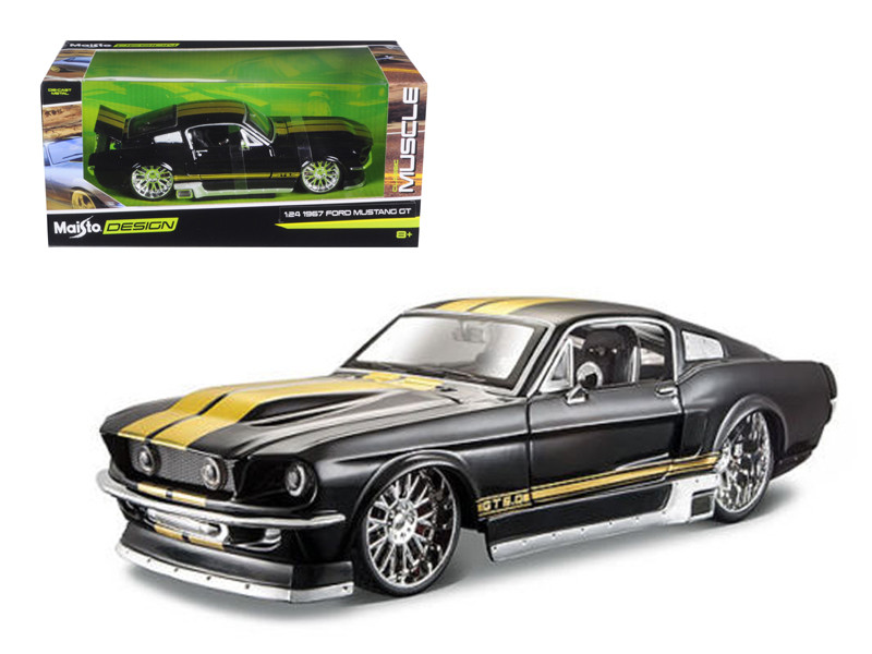 1967 ford mustang gt black classic muscle 124 diecast model car maisto