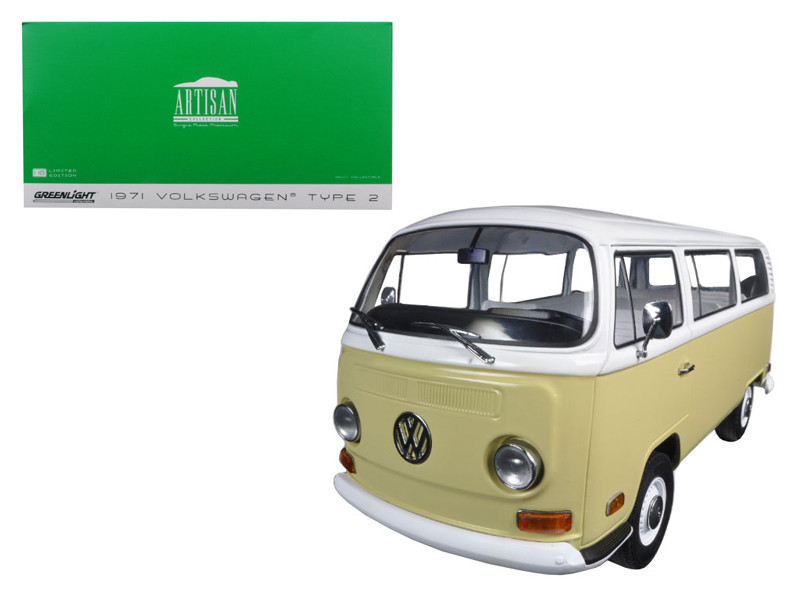 1971 Volkswagen Type 2 Bus (T2B) Yellow 1/18 Diecast Model Car Greenlight 19012
