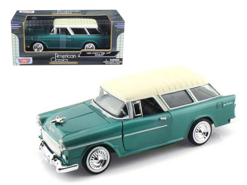 1955 Chevrolet Nomad Green 1/24 Diecast Model Car Motormax 73248