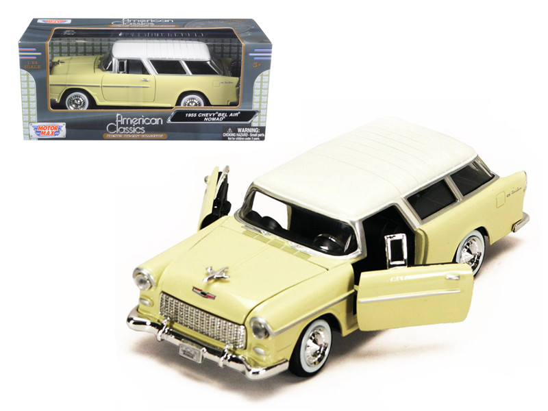 1955 Chevy Nomad Yellow 1/24 Diecast Car Model Motormax 73248
