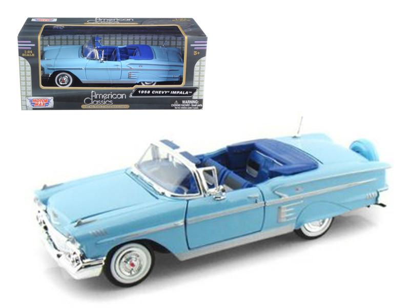 1958 Chevrolet Impala Blue 1/24 Diecast Model Car Motormax 73267