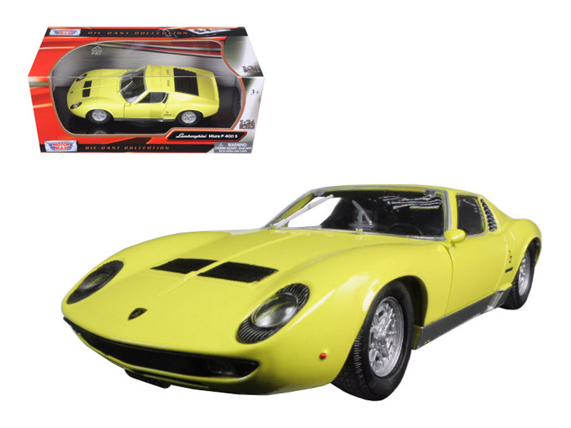 Lamborghini Miura P 400 S Yellow 1/24 Diecast Model Car Motormax 73368