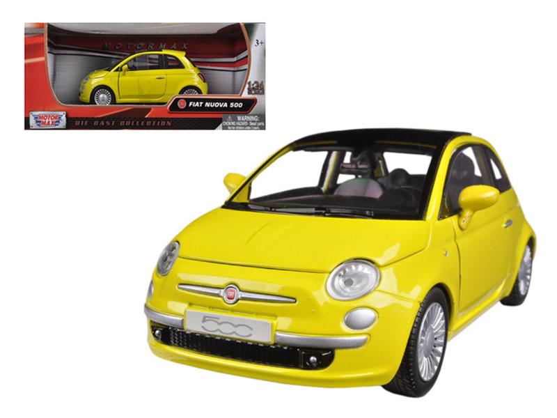 Fiat 500 Nuova Yellow 1/24 Diecast Car Model Motormax 73373