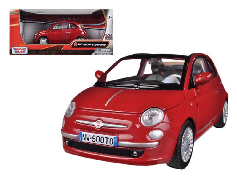 Fiat 500 Nuova Cabrio Red 1/24 Diecast Model Car Motormax 73374