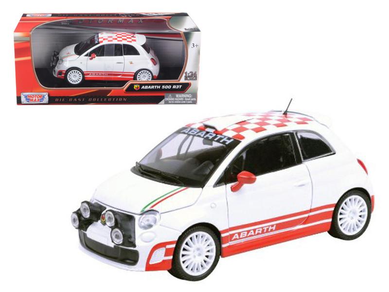 Fiat Abarth 500 R3T White 1/24 Diecast Car Model Motormax 73379