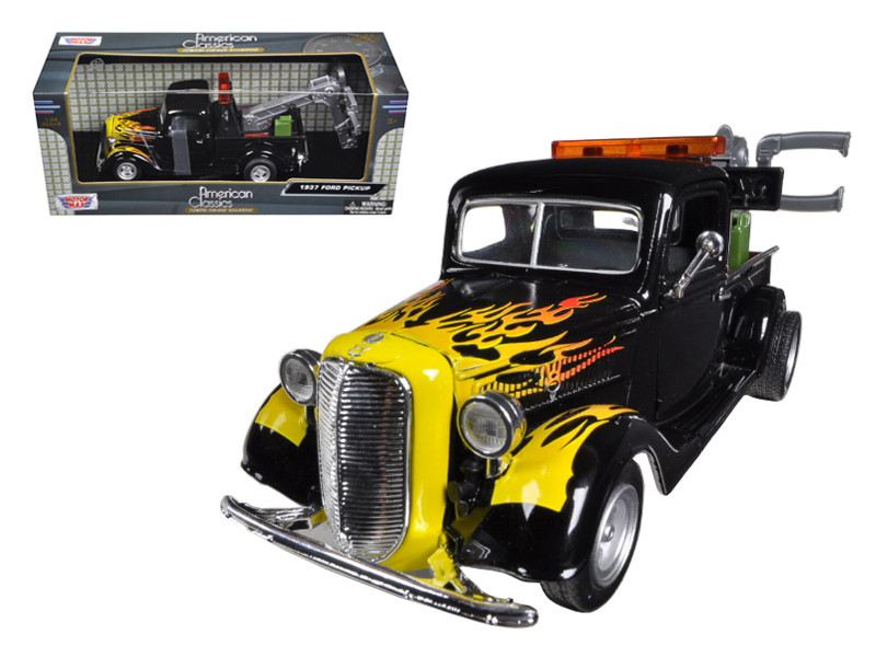 1937 Ford Tow Truck Black with Flames 1/24 Diecast Model Motormax 75341