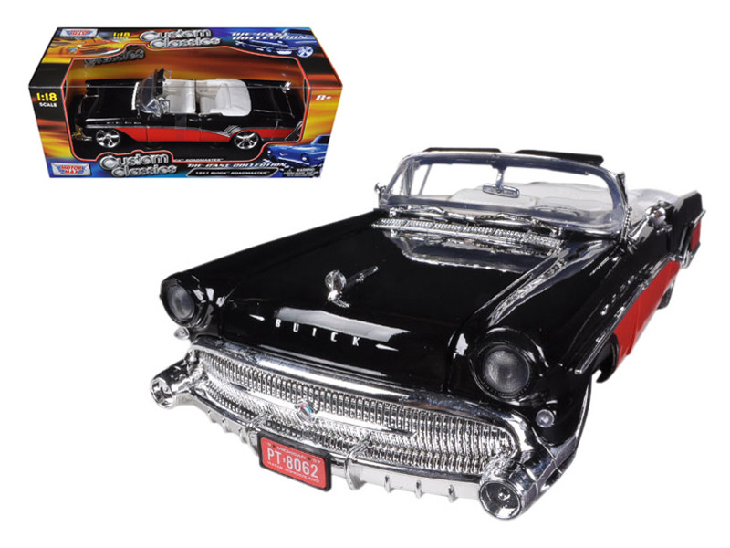 1957 Buick Roadmaster Red/Black Custom 1/18 Diecast Car Model Motormax 79008