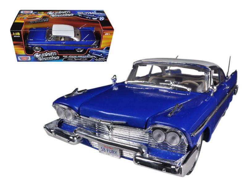 1958 Plymouth Fury Blue Custom 1/18 Diecast Car Model by Motormax
