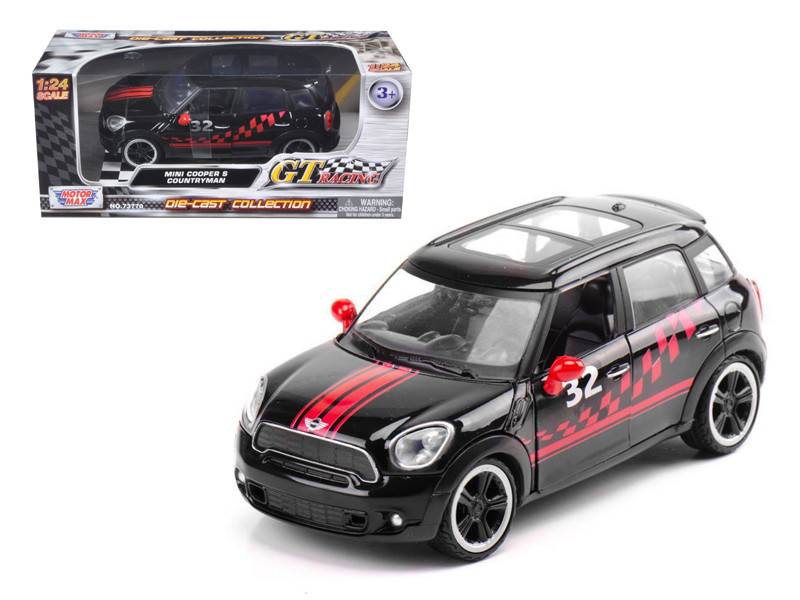 Mini Cooper S Countryman Black Racing 1/24 Diecast Car Model by Motormax