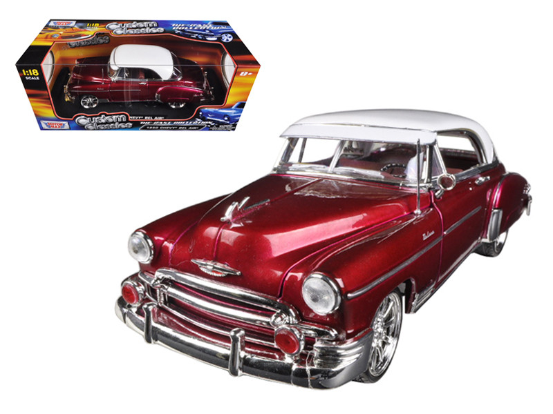 1950 Chevrolet Bel Air Metallic Dark Red Custom 1/18 Diecast Car Model Motormax 79007
