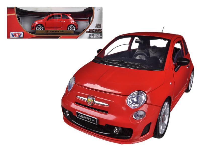 Fiat 500 Abarth Red 1/18 Diecast Car Model Motormax 79168