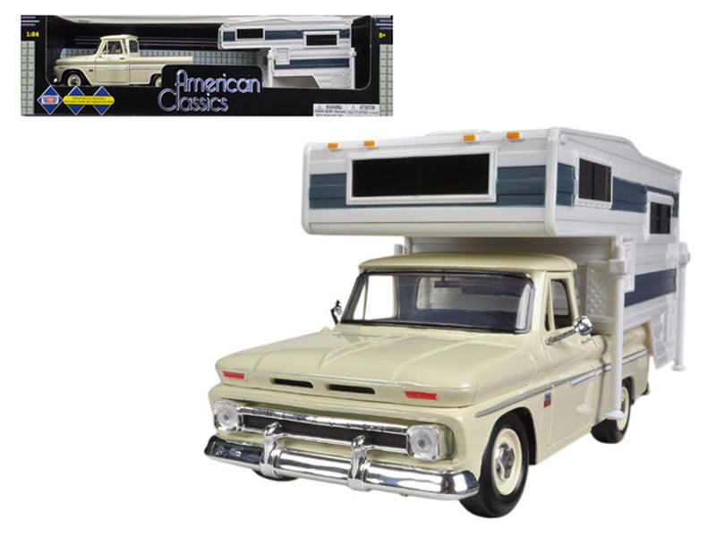 1966 Chevrolet C-10 Pickup Truck Cream With Camper 1/24 Diecast Car Model Motormax 73355