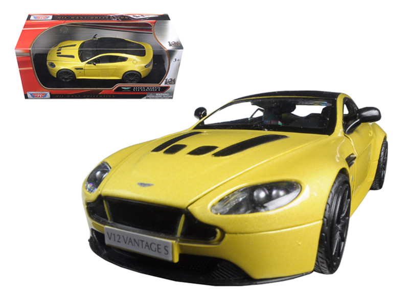 Aston Martin Vantage S V12 Yellow 1/24 Diecast Model Car Motormax 79322