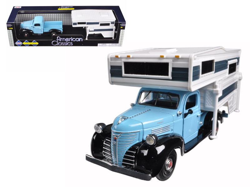 1941 Plymouth Pickup Truck Blue With Camper 1/24 Diecast Model Motormax 75278
