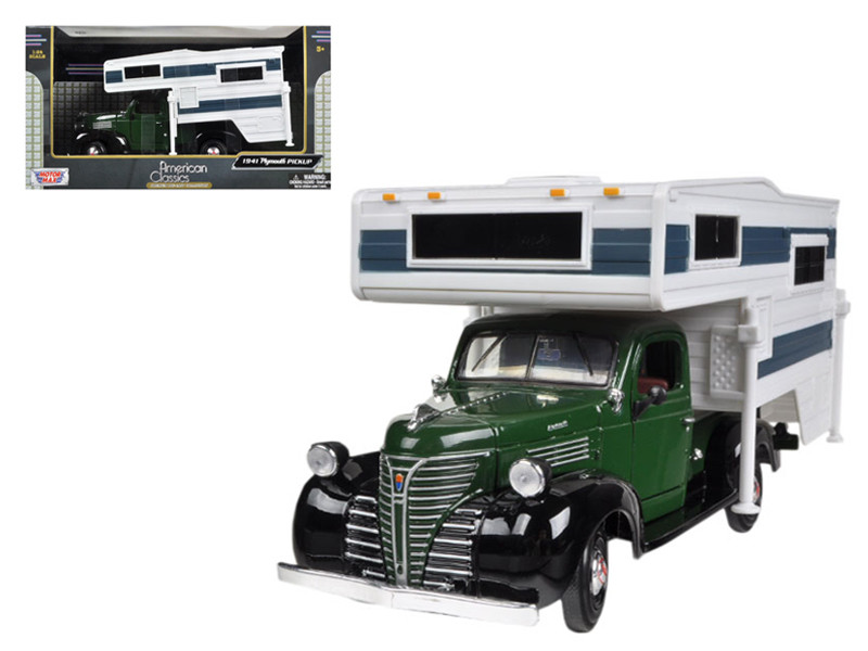 1941 Plymouth Pickup Truck Green With Camper 1/24 Diecast Model Motormax 75278