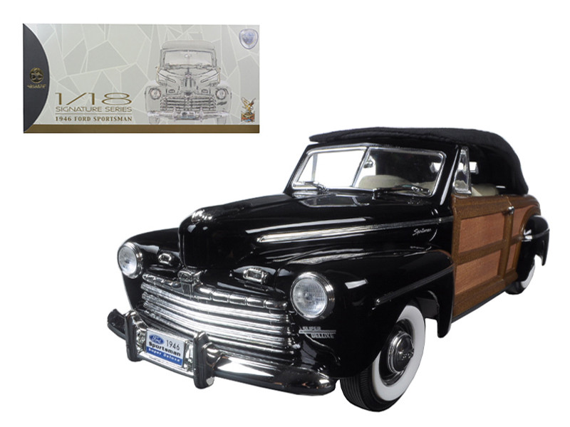 1946 Ford Sportsman Woody Black 1/18 Diecast Model Car Road Signature 20048