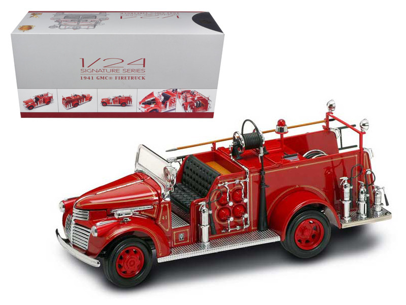 1941 GMC Fire Engine Red with Accessories 1/24 Diecast Model Car Road Signature 20068