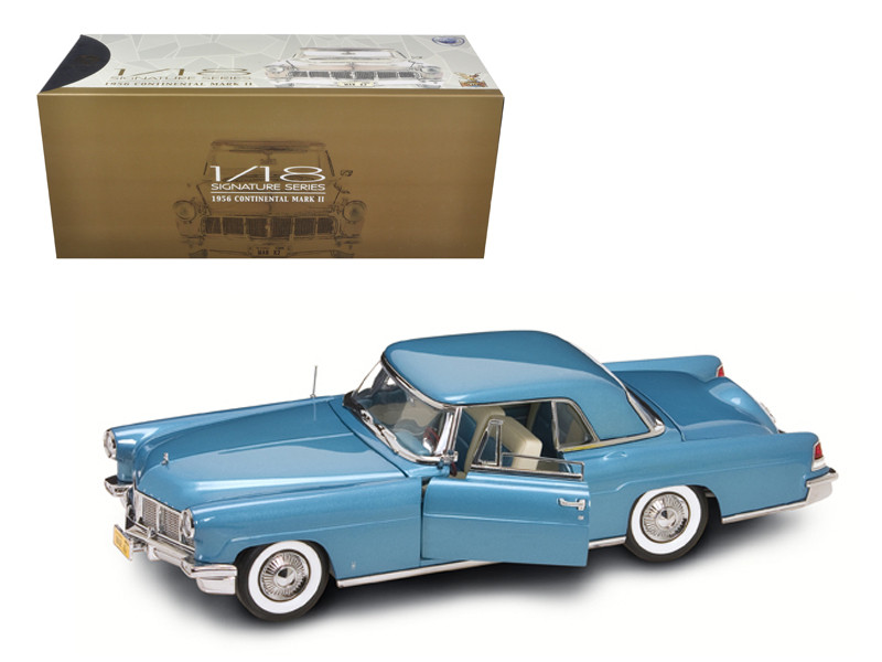 1956 Lincoln Continental Mark 2 Blue 1/18 Diecast Model Car Road Signature 20078
