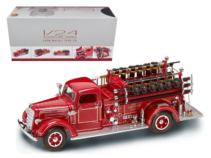 1938 Mack Type 75 Fire Engine Red with Accessories 1/24 Diecast Model Truck Road Signature 20158
