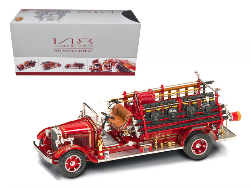 1932 Buffalo Type 50 Fire Truck Red with Accessories 1/24 Diecast Model Road Signature 20188