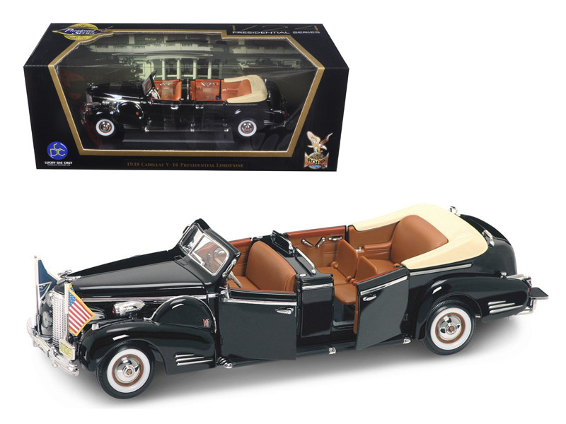 1938 Cadillac V-16 Roosevelt Limousine with Flags 1/24 Diecast Car Model Road Signature 24028
