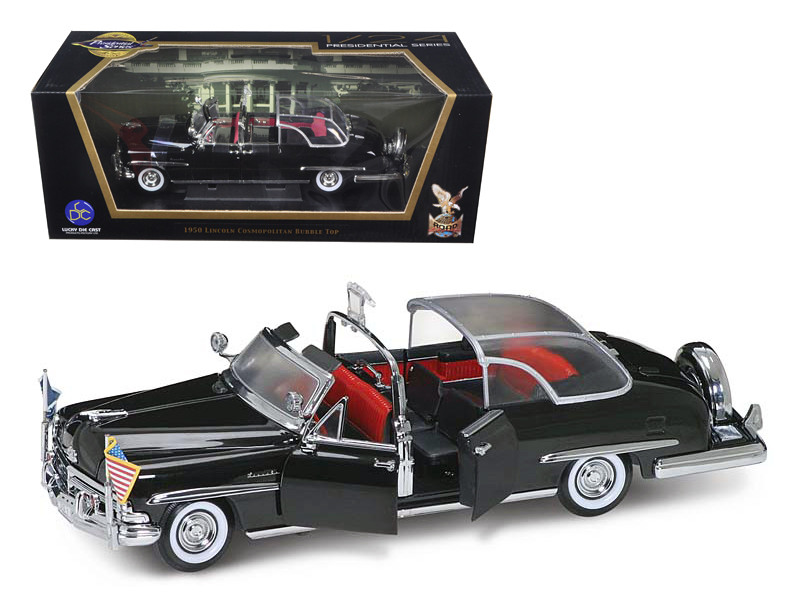 1950 Lincoln Cosmopolitan Bubble Top Limousine with Flags 1/24 Diecast Model Car Road Signature 24058