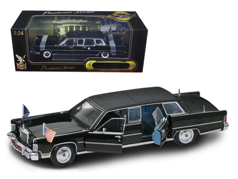 1972 Lincoln Continental Reagan Limousine Black 1/24 Diecast Model Car Road Signature 24068