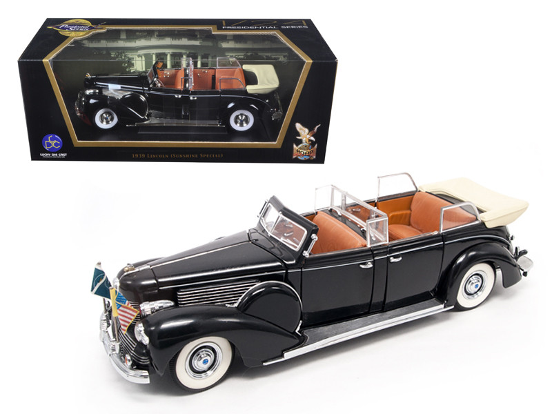1939 Lincoln Sunshine V12 Limousine with Flags 1/24 Diecast Model Car Road Signature 24088