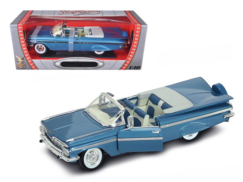 1959 Chevrolet Impala Convertible Blue 1/18 Diecast Mod