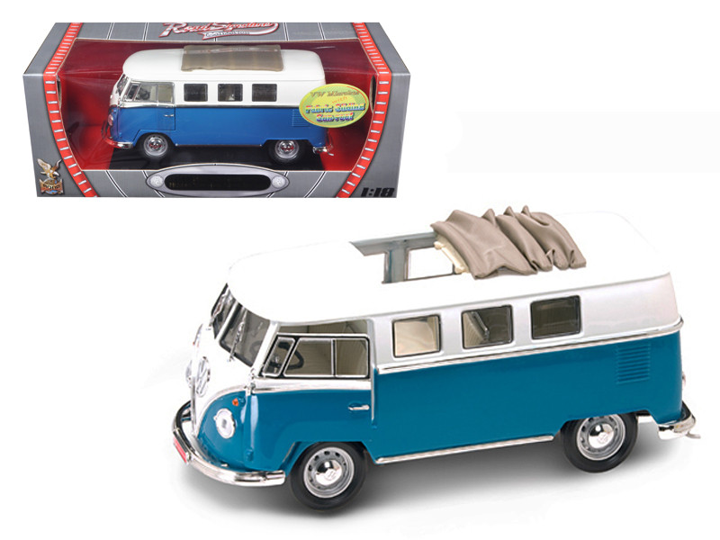 1962 Volkswagen Microbus With Retractable Roof Blue 1/18 Diecast Car Road Signature 92327
