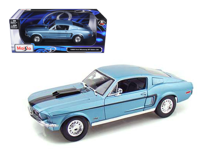 1968 ford mustang cj cobra jet blue 118 diecast model car maisto 31167