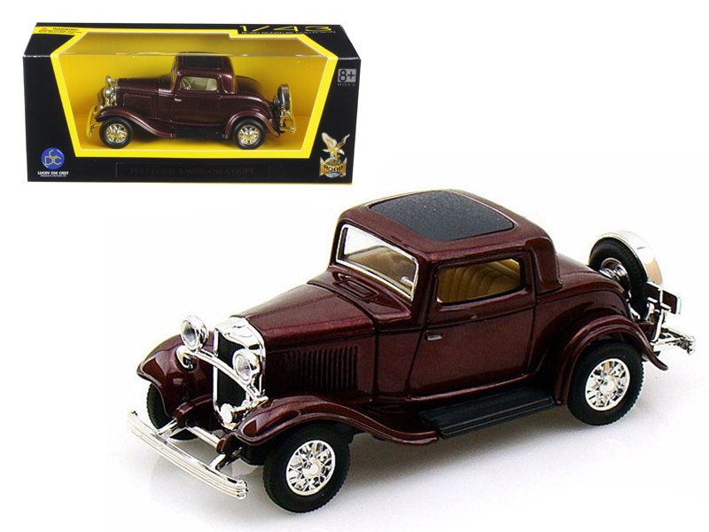 1932 Ford 3 Window Coupe Burgundy 1/43 Diecast Car Model Road Signature 94231