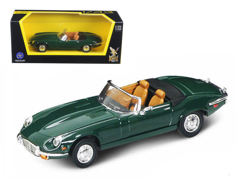 1971 Jaguar E Type Convertible Green 1/43 Diecast Model Car by Road Signature