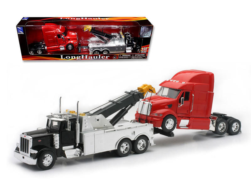 Peterbilt Tow Truck with Red Peterbilt Cab 1/32 Diecast Model by New Ray