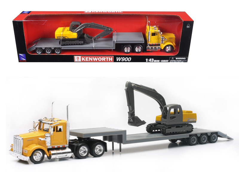 Kenworth W900 Lowboy Yellow With Backhoe Excavator 1/43 Model New Ray 15293
