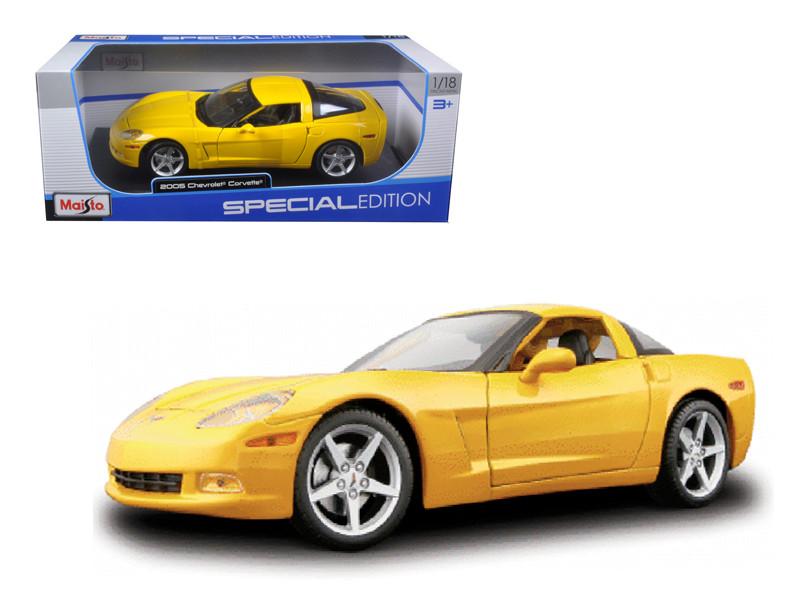 2005 Chevrolet Corvette C6 Coupe Yellow 1/18 Diecast Model Car Maisto 31117