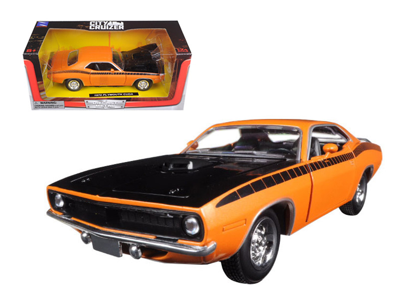 1970 Plymouth Cuda Orange with Black 1/24 Diecast Model Car New Ray 71875
